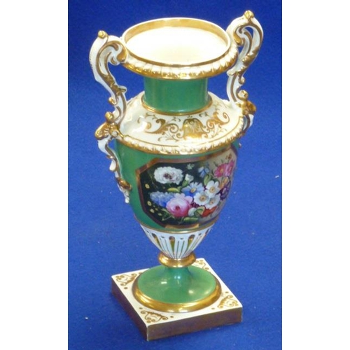 17 - A 19th Century two-handled urn shaped Vase, gilt highlights green ground and a finely painted centra...