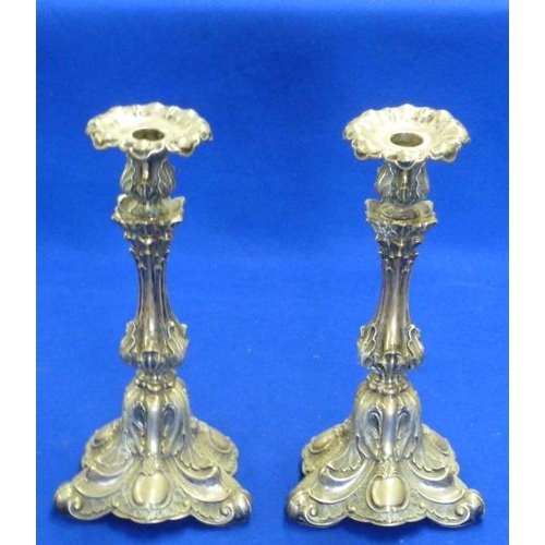 172 - A pair of 19th Century French style Candlesticks of elaborate form decorated with acanthus leaves an...