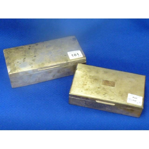 181 - Two hallmarked silver Cigarette Boxes, weighted and with cedar wood interiors, the widest 18cm wide...