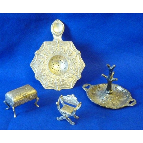 182 - A mixed group of silver (probably Dutch) comprising two-handled Ring Tree, a miniature Savonarola st...