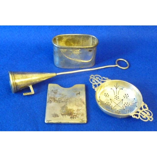 185 - A mixed group of various silver to include a two-handled pierced Strainer, an oval Flask ''Cup'', a ...
