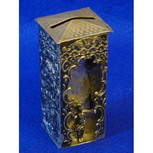 188 - A 19th Century Continental silver (800 grade) novelty Money Box the hinged ''tiled'' lid above a squ...