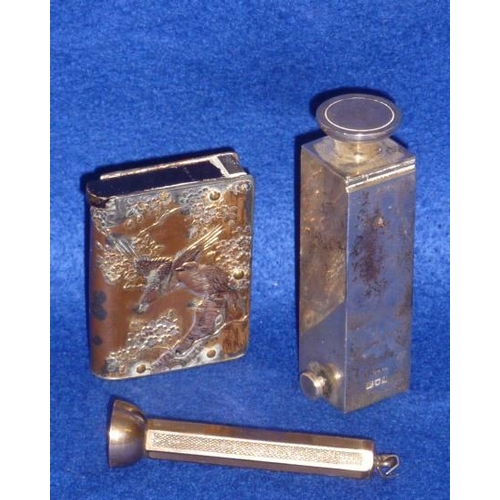 189 - A mixed group of silver to include an unusual hallmarked silver Vesta Case of square form and with c...