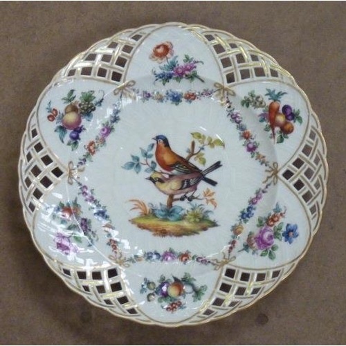 20 - A fine 19th Century Continental porcelain Cabinet Plate with reticulated border and central decorati...