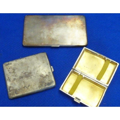 202 - Three hallmarked silver Cigarette Cases decorated with engine turning, the largest 14.5cm wide, the ...