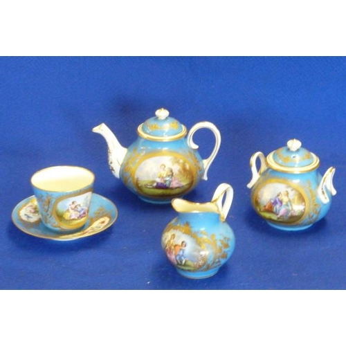 21 - A 19th Century Sevres porcelain Bachelor's Tea Service comprising teapot, single Cup and Saucer, two...