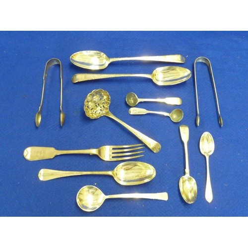 214 - Assorted silver Flatware to include two pairs of Sugar Tongs, two 18th Century Table Spoons engraved...