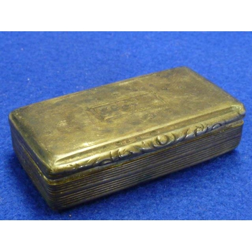 217 - A hallmarked silver Georgian rectangular shaped Snuff Box having gilded interior and vacant rectangu...