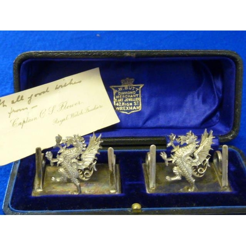 230 - A good and heavy cased pair of hallmarked silver Regimental Menu/Place Name Holders, Royal Welch Fus...