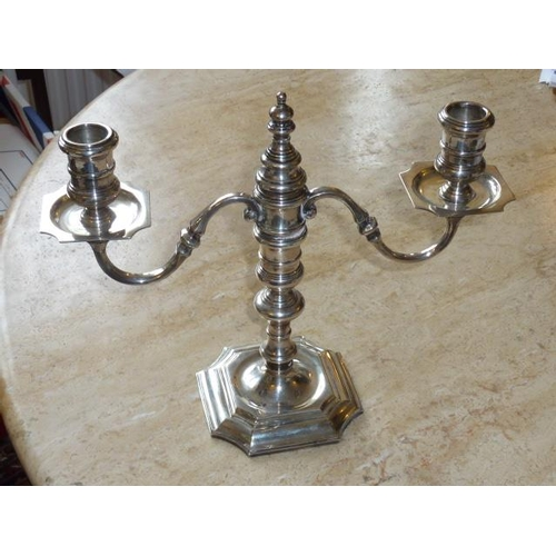 233 - A modern (in 18th Century style) hallmarked silver three light Candelabra with detachable central sn...