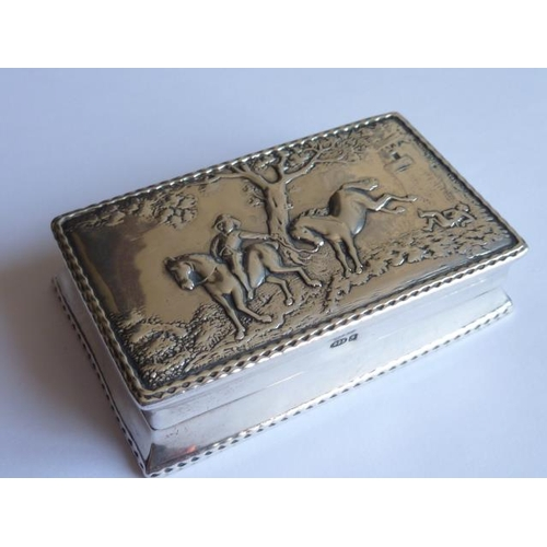 234 - A late 19th/early 20th Century Dutch silver Snuff Box, the hinged lid decorated in relief with two h...