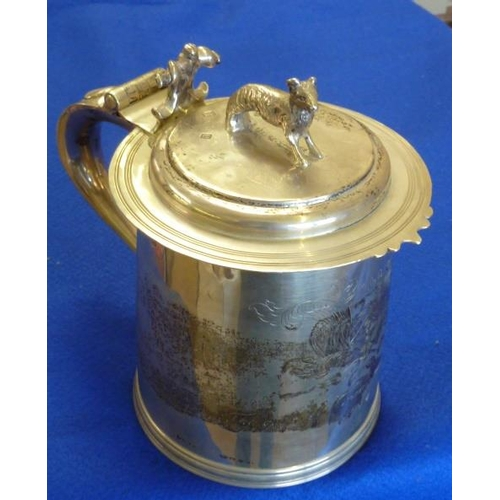 237 - A large and heavy late 17th Century style hallmarked silver lidded Tankard produced to mark the occa...
