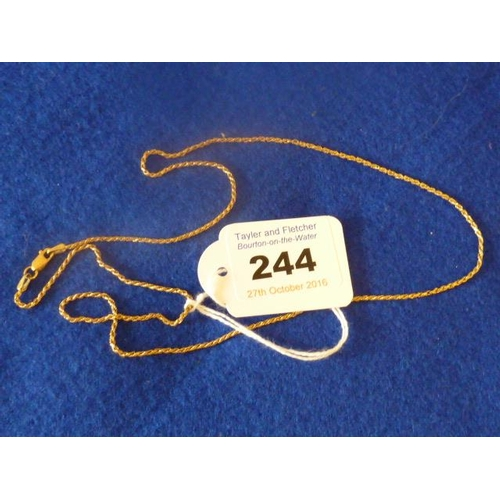 244 - A slim (marked 750) yellow gold Neck Chain, approx. 4.7g...