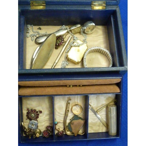 253 - A Jewellery Box containing a variety of items including a hallmarked silver Lipstick Holder, Earring...