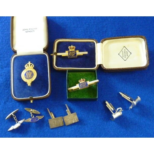 265 - Two pairs of gentlemen's hallmarked silver Cuff Links (one with blue enamel), one other silver plate...