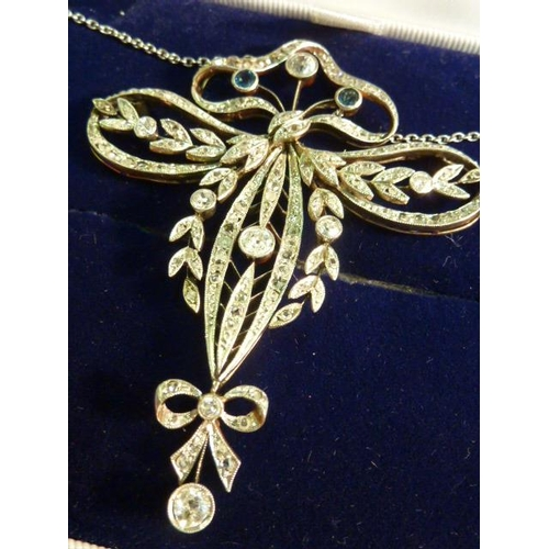 285 - An antique 18 carat gold and platinum sapphire and diamond Art Nouveau Necklace...