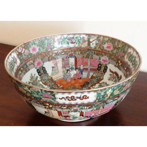 3 - A mid 20th Century Chinese porcelain Punch Bowl hand decorated in enamels in the Canton palette...