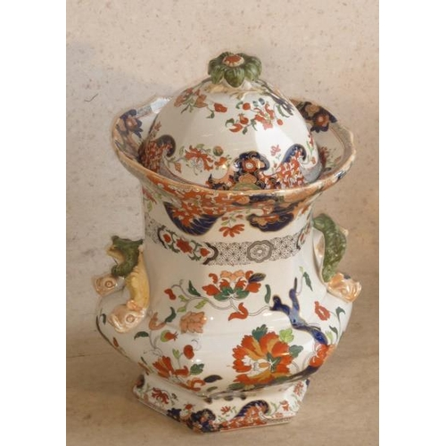 30 - A large Mason's Ironstone Urn and Cover, printed marks ''Fenton Stone Works'', circa 1825 by G M and...