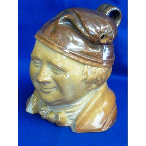 31 - A large 19th Century salt glaze stoneware Flask modelled as a Dickensian-type character, the hat fas...