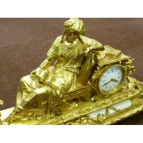 311 - A magnificent 19th Century French ormolu eight-day figural Mantel Clock, the seated female figure re...