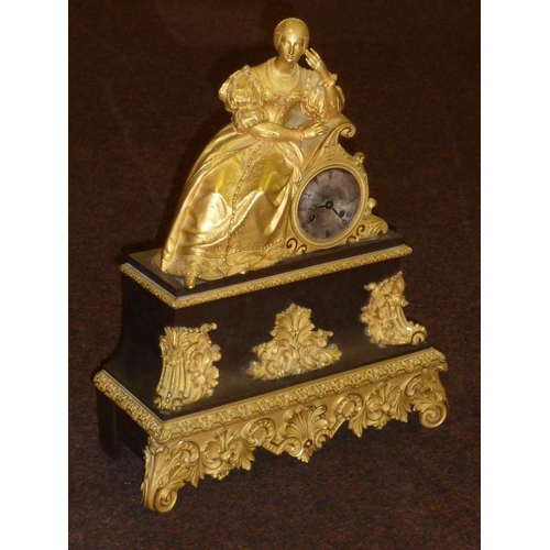 313 - A large and impressive French Empire period gilt bronze eight-day figural Mantel Clock, the female f...