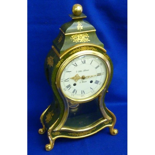 314 - A stylish eight-day Swiss Mantel Clock, the gilded ball finial above further gilded floral sprays se...