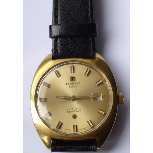 316 - A gentleman's Tissot Automatic Seastar Wristwatch, the gold coloured dial with baton markers and the...
