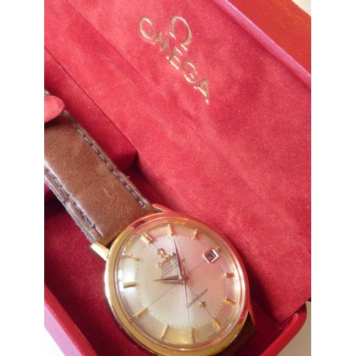 325 - A gentleman's gold cased Omega Automatic Chronometer Constellation Dress Wristwatch, the dial (fully...
