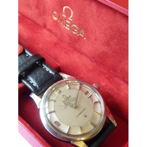 326 - A gentleman's steel cased Omega Automatic Chronometer Constellation Wristwatch, the signed silver di...