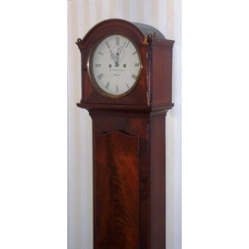 327 - An early 19th Century eight-day mahogany cased Longcase Clock (Irish), the 12'' cream painted dial w...