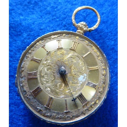 337 - An 18 carat yellow gold cased open faced Fob Watch, the gilded movement numbered 12969 and signed Re...