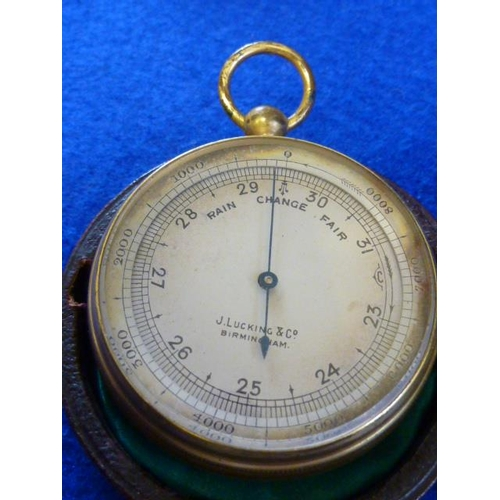 339 - A 19th Century leather cased Travelling Barometer, the dial signed J Lucking & Co., Birmingham...