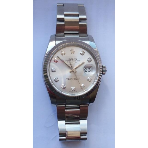 342 - A gentleman's steel Rolex Datejust automatic Oyster Perpetual Wristwatch, 36mm, model no. 116234, th...