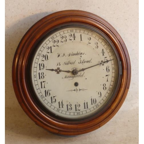 346 - An unusual late 19th/early 20th Century mahogany cased Schoolhouse type Clock, 29cm cream enamel dia...