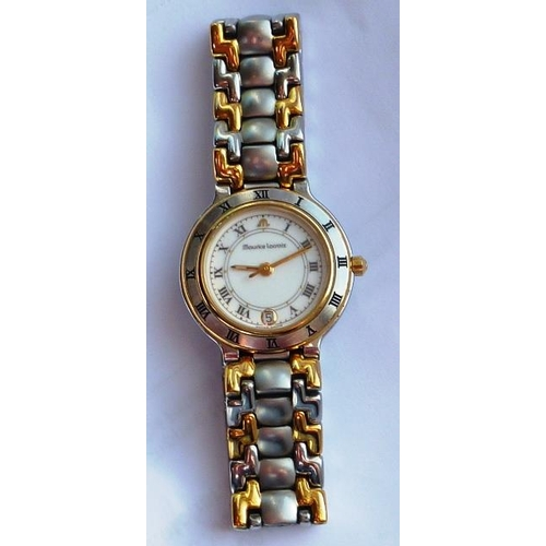 347 - A ladies steel and gold plated Wristwatch, white dial with Roman numerals and signed Maurice Lacroix...