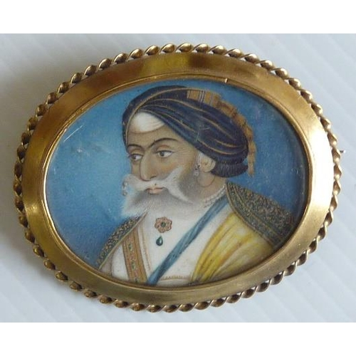 353 - A good 19th Century Miniature of an Indian Prince painted on ivory, circa 1850 (mounted)...