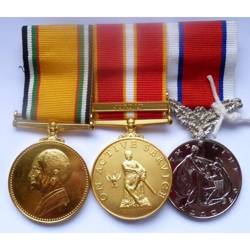 356 - A Medal Group (3) awarded to 2640 Brit/Const G.J. Green Palestine Police, ''Hors de Combat Medal on ...