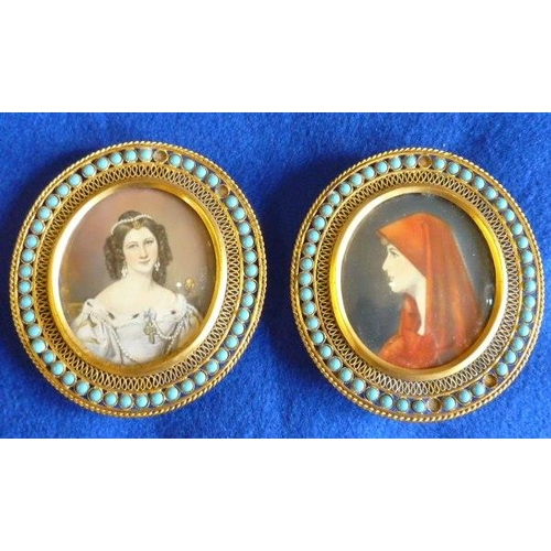 358 - Two oval Portrait Miniatures after the original paintings by Joseph Karl Stieler and Jean- Jacques H...