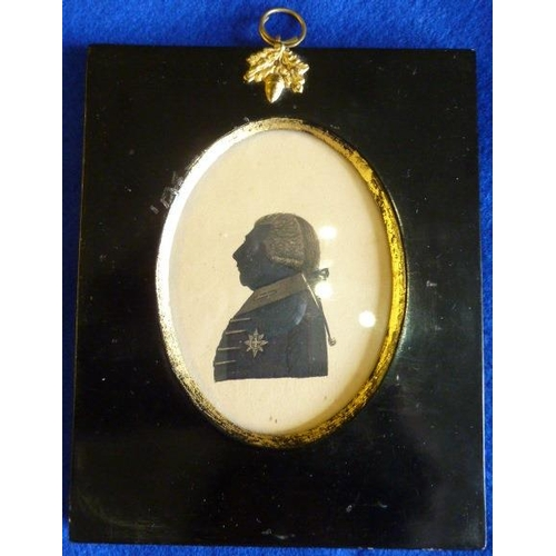 359 - A miniature Portrait Silhouette of George III, late 18th / early 19th  century, in a black and gilt ...