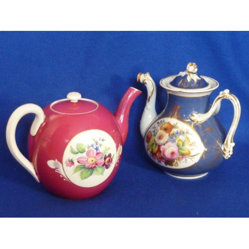 36 - A late 19th Century Russian Imperial Gardner porcelain factory (Moscow) Teapot hand decorated with t...