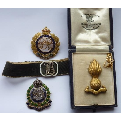 366 - A yellow metal and enamel Military Brooch (Royal Engineers) set with small old cut diamonds and othe...