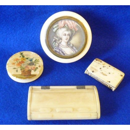 368 - An ivory group including an oval bone Snuff Box, Folk Art style Vesta Case, a circular Box and Cover...