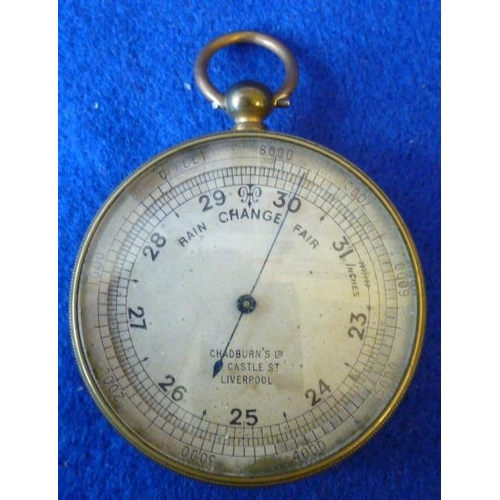 370 - A 19th Century travelling Pocket Barometer, the silvered dial with a blued steel register hand and s...