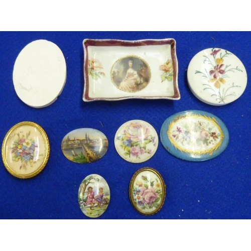 376 - A selection of mostly porcelain Roundel's decorated with flowers etc., (9 various items)...