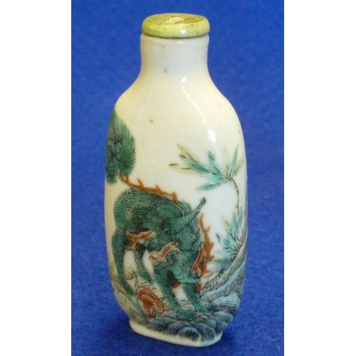 380 - A Chinese Kangxi style porcelain Snuff Bottle of oval section, hand decorated in Famille Vert enamel...