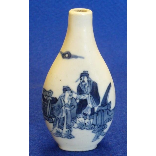 381 - A Chinese porcelain Snuff Bottle of flattened oval form, hand decorated in underglaze blue with two ...