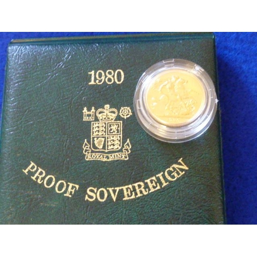 398 - A cased 1980 Proof Sovereign...