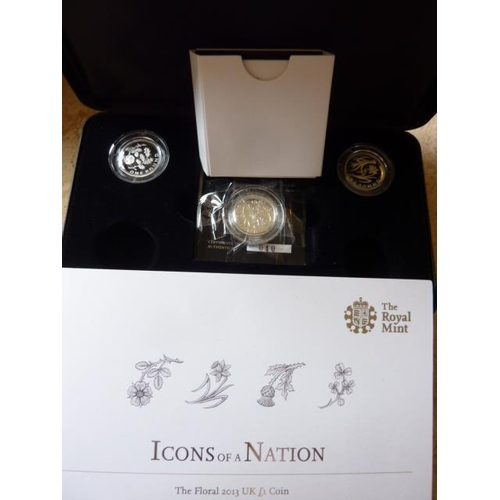 401 - The Royal Mint boxed set ''Icons of A Nation'' three silver One Pound Coins (two missing from the se...