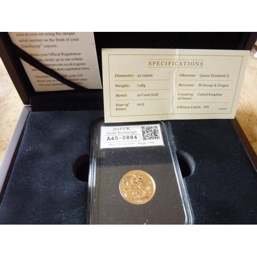 402 - A boxed Limited Edition 2015 UK Gold Sovereign with paperwork...