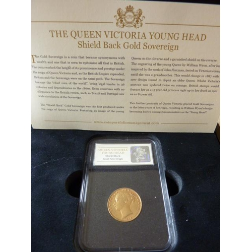 404 - A boxed Queen Victoria (Young Head) shield back Gold Sovereign dated 1872...